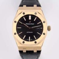AP Royal Oak 41mm 15400 RG Best Edition Black Dial on Black Leather