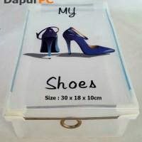 harga Kotak Sepatu Wanita Transparan Sisi & Ring Metal Bukaan Atas Tokopedia.com