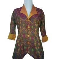 Baju Batik Wanita   Atasan Tenun Ikat Endek Bali Kombinasi