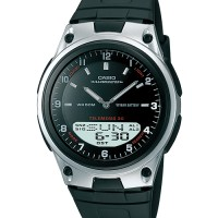 jam tangan cowok AW80-1 casio analog digital layar hitam ori rubber