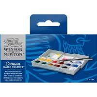 WINSOR&NEWTON COTMAN WATER COLOURS SKETCHERS' POCKET BOX - 12 HALF PAN