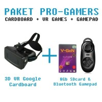 paket pro ; Google cardboard 3D VR + VR Games 8GB + Bluetooth Gamepad