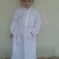 gamis jubah putih anak 2 dan 3 tahun