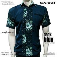 BATIK KOMBINASI, Baju Batik Modern, Kemeja Batik BIRU DONKER, EX-021