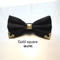 Jual dasi kupu bowtie black gold square iron Murah