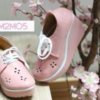 Sepatu Wedges Wanita Selop Pink Tali Kets Platform Grosir Sepatu
