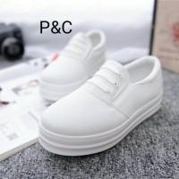 Sepatu KEts Wanita Putih Polos Tali 3 Grosir Sepatu Slipon Murah Muda