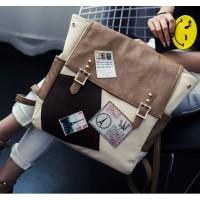 tas ransel anak kuliahan sekolah unik coklat simple besar korea kulit