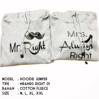HOODIE JUMPER - MR AND MRS ALWAYS RIGHT- JAKET COUPLE - JAKET DISTRO
