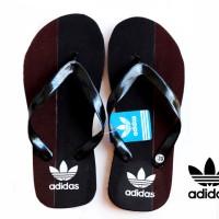 Grosir / Eceran, Sandal Pria, Sandal Jepit Adidas Hitam Brown Spon Size 39