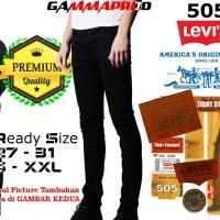 Celana Soft Jeans Levis 505 Black / Hitam Skinny Pria Premium YKK