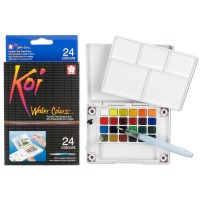 Cat Air 24 Colours Set - SAKURA Koi Water Colors Pocket Sketch Box