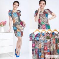 Serenoika Batik Bodycon Midi Dress