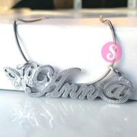 Kalung Nama Silver Grafir - Anna