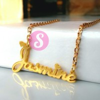 Kalung Nama Lapis Emas Polos - Jasmine