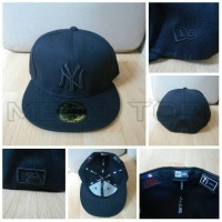 harga Topi Fitted New Era 7 1/4 MLB NY Full Hitam - Import Tokopedia.com