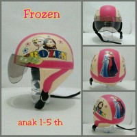 Helm Anak Chip Retro Motif Frozen Crem Pink