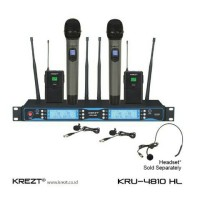 Microphone wireless 2 mic 2 clip on KREZT KRU-4810 HL