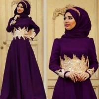Baju Muslim Maxi Cassandra Purple Set Hijab