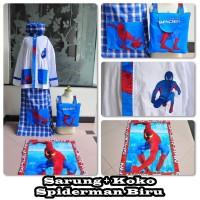 Sarung + Koko Spiderman Biru (Size M)