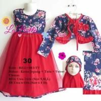 Baju Muslim/Gamis Anak Labella (Usia 2 - 6th) REG3-TV Merah No.30