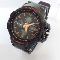 Digitec Original Jam Tangan Pria Tahan Air Dual Time Rubber ActiveDate