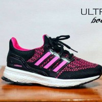Sepatu Adidas Ultra Boost Women Black-Pink Running Sport