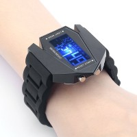 Jam Tangan Pesawat Jet Digital ~ Arloji + Backlight LED [HITAM]