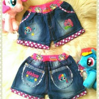 harga NEW !! Celana Jeans Hotpant Little Pony Bordir Polka Pink Tokopedia.com