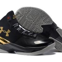 Sepatu basket under armour curry 2 black gold