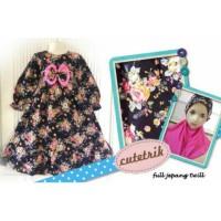 Gamis Anak Pita Shabby Chic Bunga Hitam (8-12 tahun)