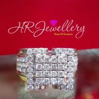 Cincin berlian fashion ring emas putih kadar 40%