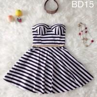 Mini Bustier Dress Garis Stripes