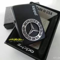 Jual korek zippo black matte custom emblem mercedes benz silver Murah