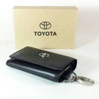 Jual Dompet STNK Mobil Motor Kulit Asli Gantungan Kunci Toyota Hitam GK01 Murah