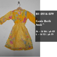 Gamis Batik Anak Warna Pastel / Baju Batik Muslim Anak / Gamis KuningJB