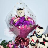 Buket Boneka Bear Hand bouquet hadiah wisuda bunga