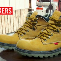 sepatu pria kickers boot kulit safety ujung besi grade original,