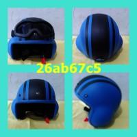 harga helm retro vespa termurah model pilot biru hitam Tokopedia.com