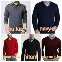 Jual Sweater Brother Joey V Neck Knit Katun Plain 5 Varian Warna [S M L XL] Murah