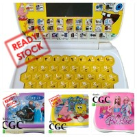 Mainan Edukasi Anak Laptop Mini 4 Bahasa Karakter Barbie Pink Promo