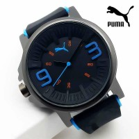 Jam Tangan Pria / Cowok Puma Ultrasize 93 Rubber Black List Blue