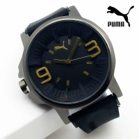 Jam Tangan Pria / Cowok Puma Ultrasize 93 Rubber Black List Gold