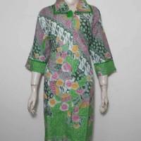 Dress Batik Jumbo XXL Warna Hijau / Tunik Batik / Baju Batik Wanita 3L