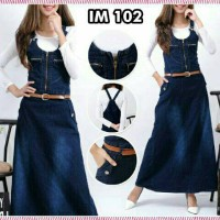 Jual jumpsuit jeans rok panjang zipper kerut dress hijabers fashion gamis Murah