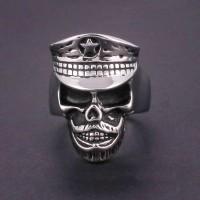 Cincin Tengkorak Titanium Skullring Police Turn Back Crime Silver Ring