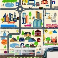 Wallpaper Dinding Custom Motif City Cartoon