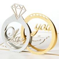 Kartu Ucapan 3D Wedding Ring Anniversary Love Pop Up Card Kado Lamaran