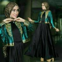 Dress Satin Dian Pelangi Black Tosca