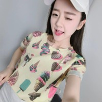 kaos crop tees ice cream t shirt tumblr atasan wanita import cute lucu